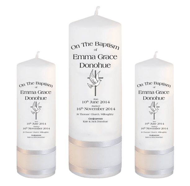Baptism Candle Set Deluxe Font 1 - cross and dove