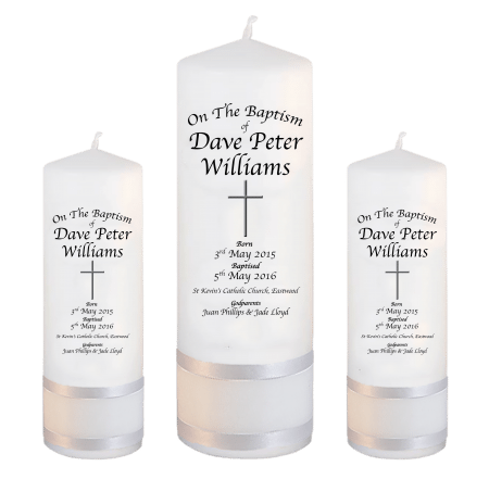 Baptism Candle Set Deluxe Font 2 - cross 2