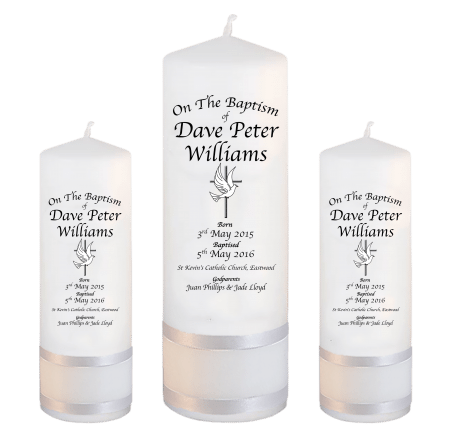 Baptism Candle Set Deluxe Font 2 - cross and dove