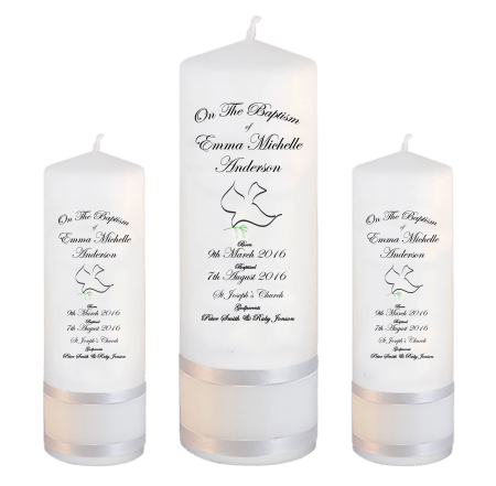 Baptism Candle Set Deluxe Font 3 - dove