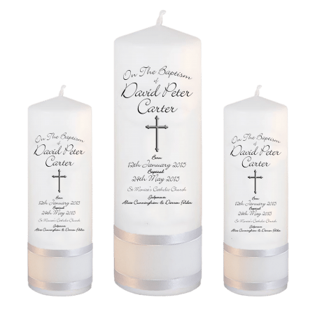 Baptism Candle Set Deluxe Font 4 - cross