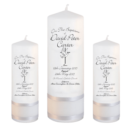 Baptism Candle Set Deluxe Font 4 - cross and dove