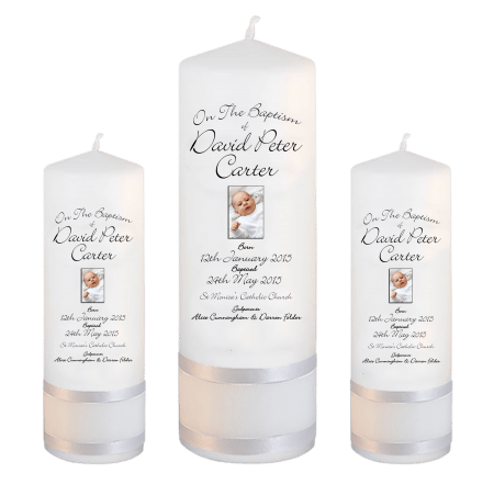 Baptism Candle Set Deluxe Font 4 - photo