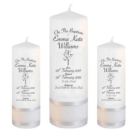 Baptism Candle Set Deluxe Font 5 - cross and dove
