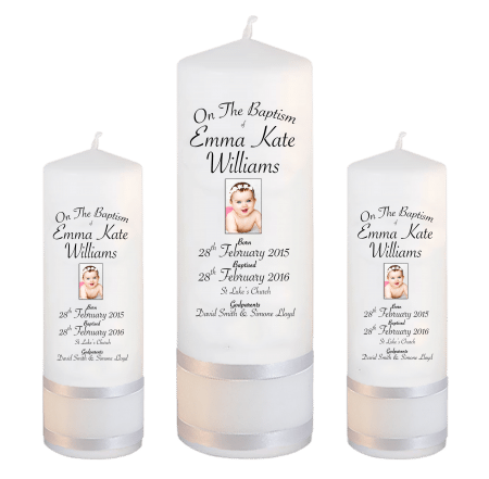 Baptism Candle Set Deluxe Font 5 - photo