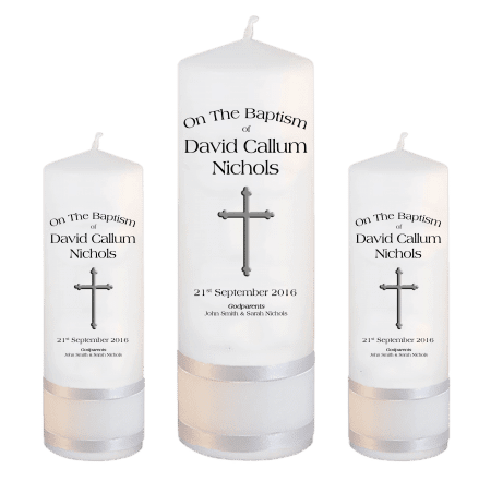 Baptism Candle Set Font 1 - cross
