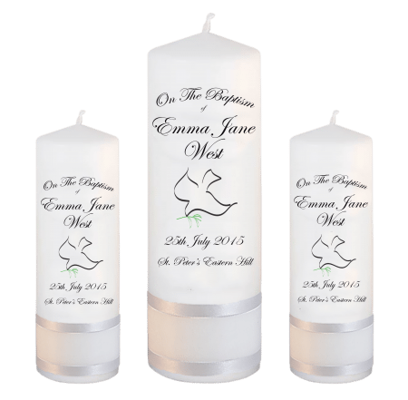 Baptism Candle Set Font 3 - dove