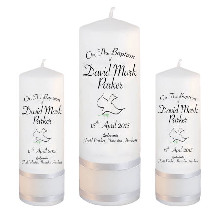 Baptism Candle Set Font 5 - dove