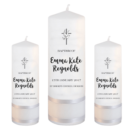 Baptism Candle Set Modern Font 1 - cross and dove