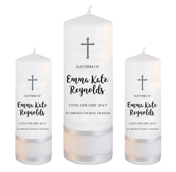 Baptism Candle Set Modern Font 1 - cross