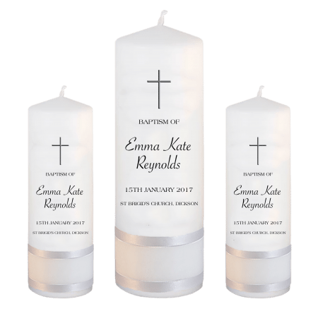 Baptism Candle Set Modern Font 3 - cross 2