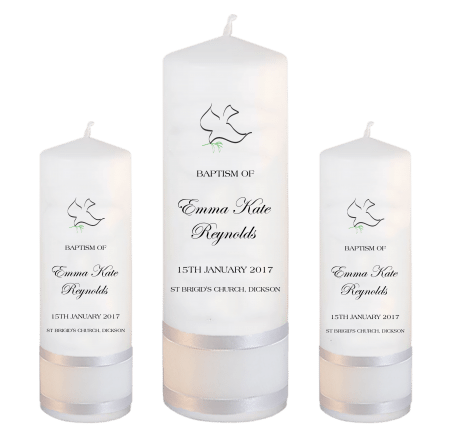 Baptism Candle Set Modern Font 4 - dove