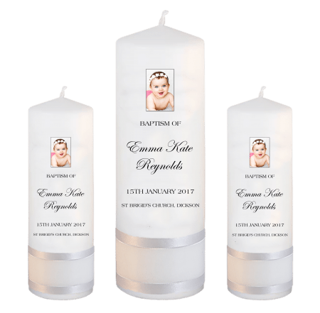 Baptism Candle Set Modern Font 4 - photo