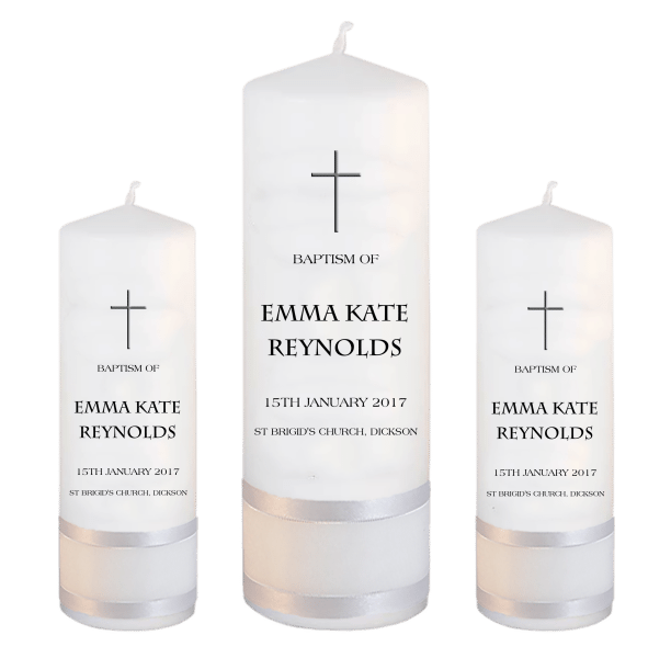 Baptism Candle Set Modern Font 5 - cross 2