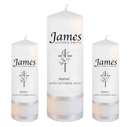 Baptism Candle Set Name Apple - Cross and Dove