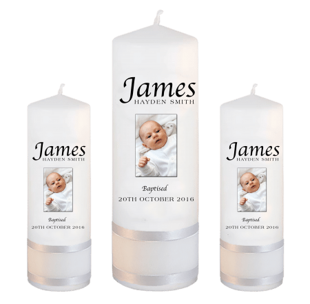 Baptism Candle Set Name Apple - Photo