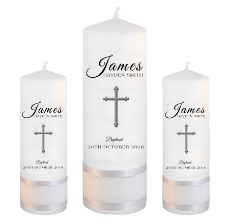 Baptism Candle Set Name Great Vibes - Cross