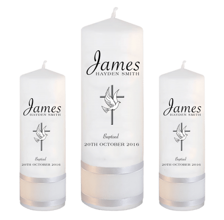Baptism Candle Set Name Savoye - Cross and Dove