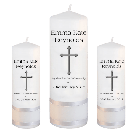 Baptism Candle Set Welcoming Font 1 - cross