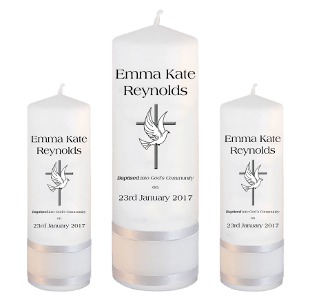 Baptism Candle Set Welcoming Font 1 - cross and dove
