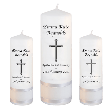 Baptism Candle Set Welcoming Font 2 - cross