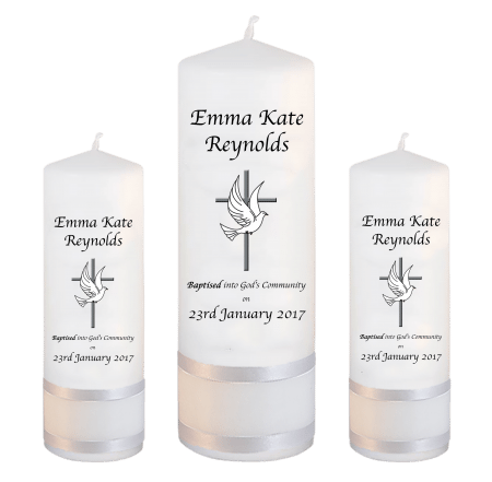 Baptism Candle Set Welcoming Font 2 - cross and dove