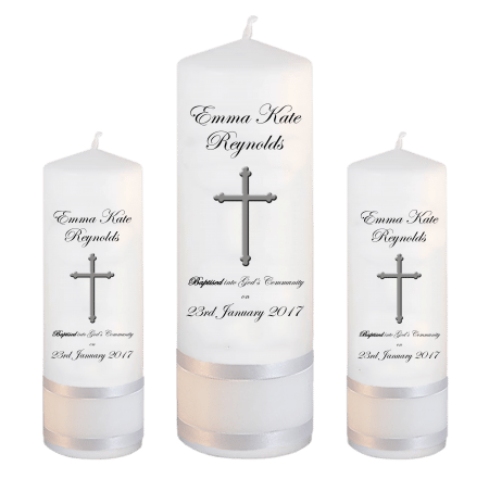 Baptism Candle Set Welcoming Font 3 - cross
