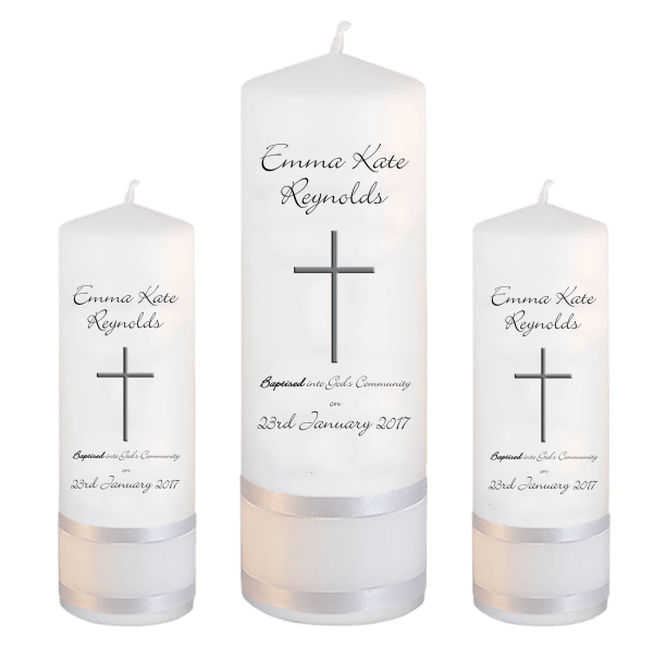 Baptism Candle Set Welcoming Font 4 - cross 2