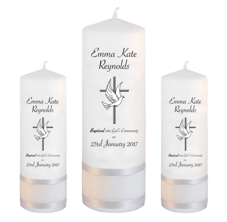 Baptism Candle Set Welcoming Font 5 - cross and dove