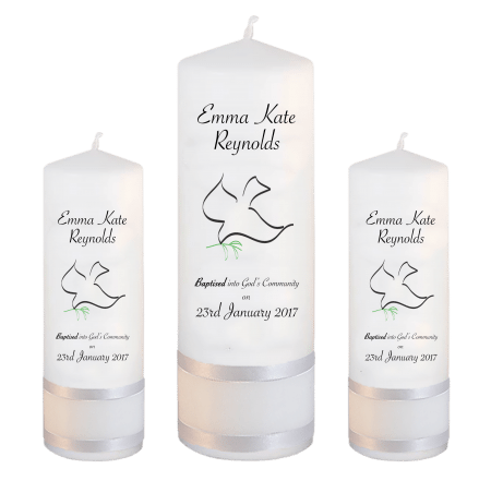 Baptism Candle Set Welcoming Font 5 - dove