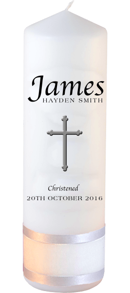 Christening Candle Name Font 2 Cross