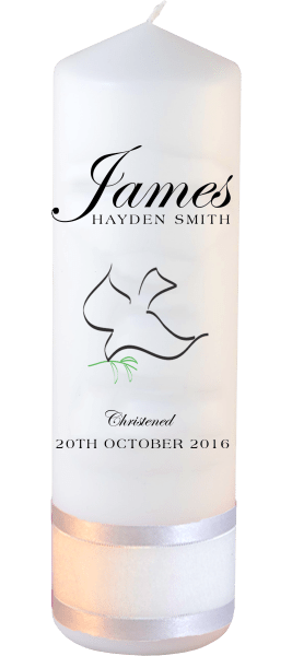 Christening Candle Name Font 1 Dove