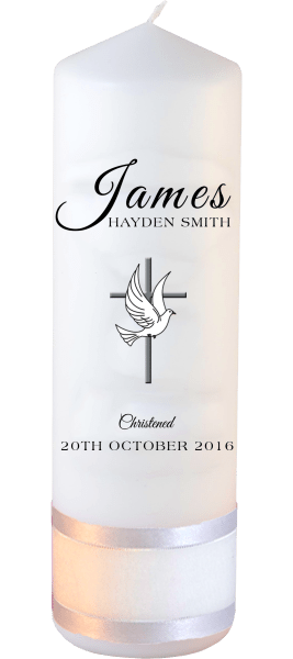 Christening Candle Name Font 4 Cross and Dove
