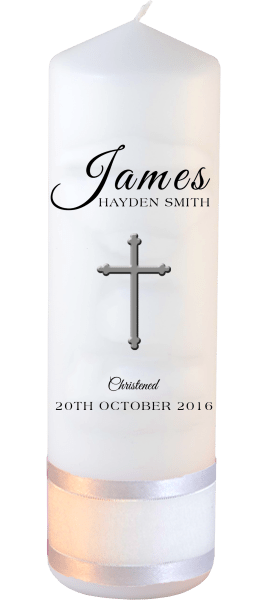 Christening Candle Name Font 4 Cross