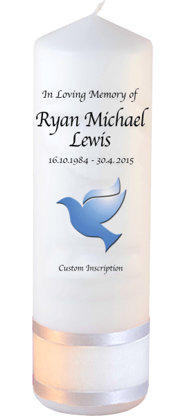 Custom Memorial Candles dove font 2