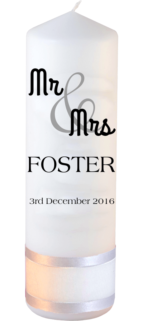 Wedding Candle Mr and Mrs Font 4