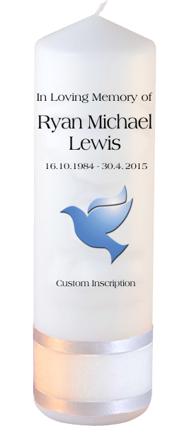 Custom Memorial Candles dove font 1