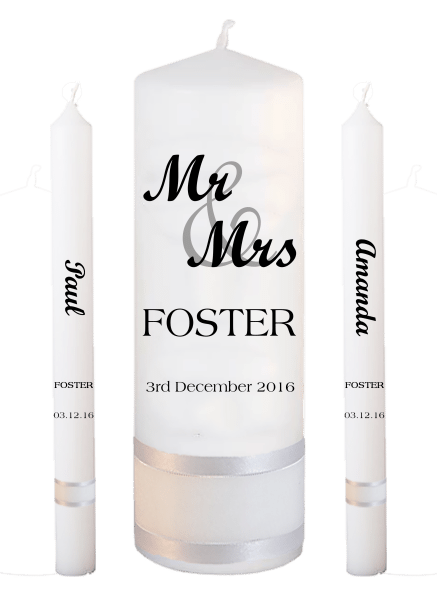 Wedding Candle Taper Set Mr & Mrs Font 1
