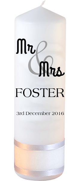 Wedding Candle Mr & Mrs Font 4
