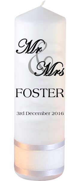Wedding Candle Mr & Mrs Font 5