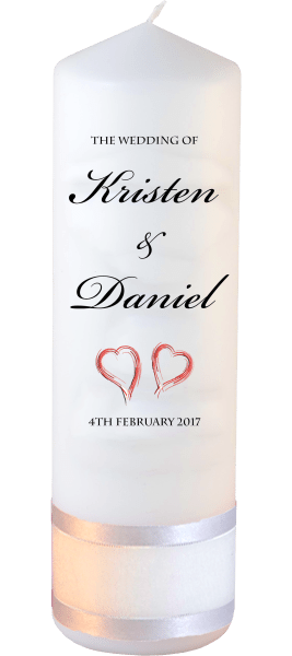 Wedding Candle Formal Font 1 red hearts