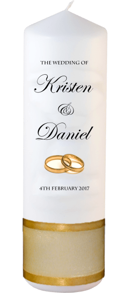 Wedding Candle Formal Font 2 gold rings