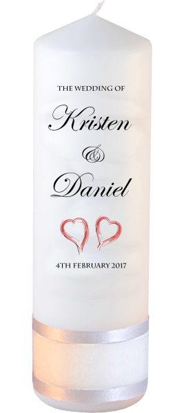 Wedding Candle Formal Font 2 red hearts