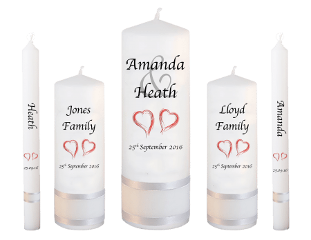 Wedding Candle Set Deluxe Modern Font 1 Red Hearts