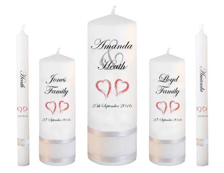 Wedding Candle Set Deluxe Modern Font 2 Red Hearts