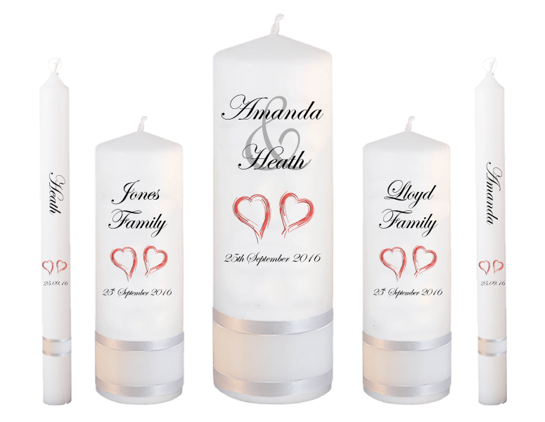 Wedding Candle Set Deluxe Modern font 2 - red hearts
