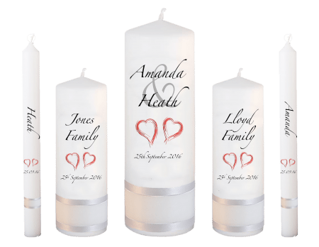 Wedding Candle Set Deluxe Modern Font 3 Red Hearts
