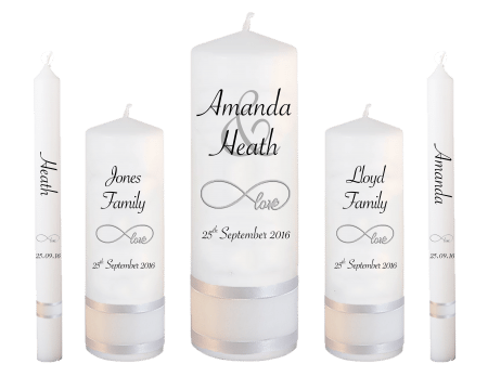 Wedding Candle Set Deluxe Modern Font 4 Love