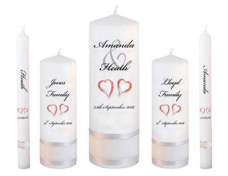 Wedding Candle Set Deluxe Modern Font 5 Red Hearts