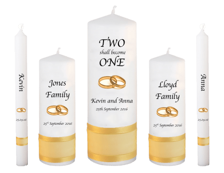 Wedding Candle Set Deluxe Inscription Font 1 Gold Rings